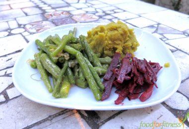 Rezept: Kürbispüree, grüne Bohnen und rote Beete