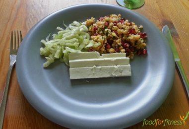 Rote Linsensalat mit Feta und Fenchel